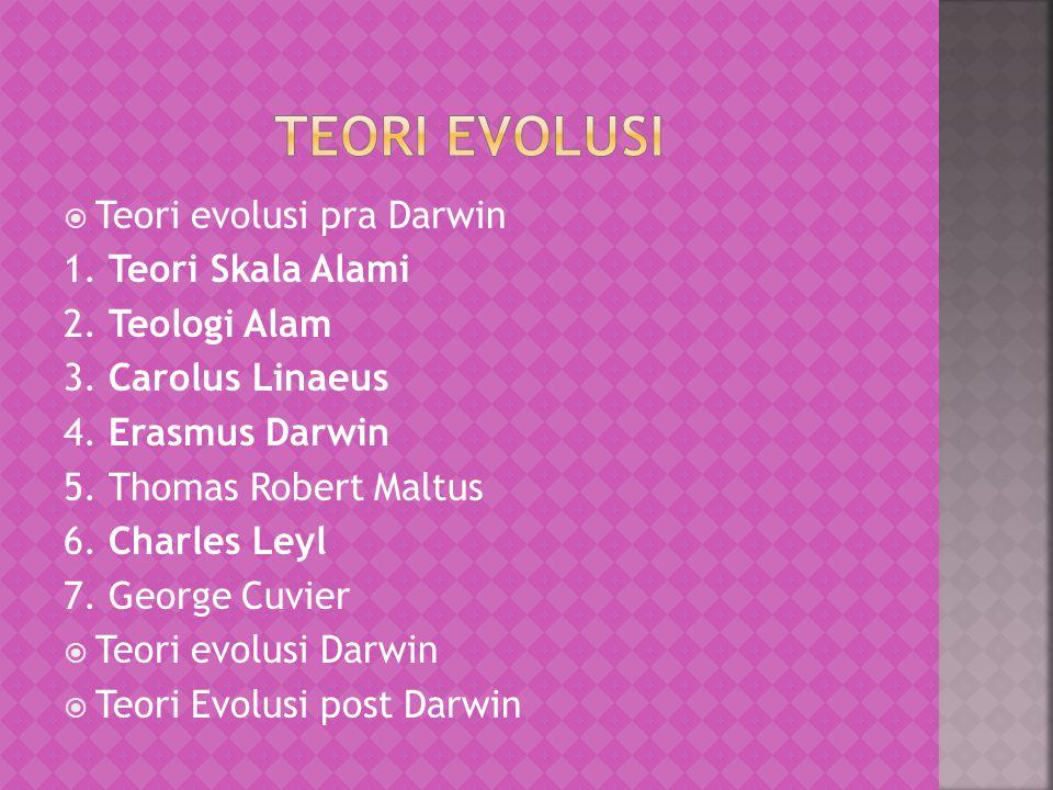 Teori evolusi Teori evolusi pra Darwin 1. Teori Skala Alami