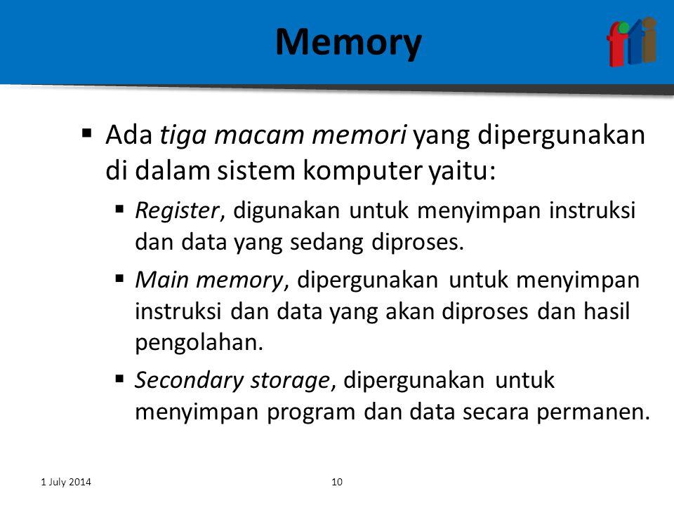 Memory Ada tiga macam memori yang dipergunakan di dalam sistem komputer yaitu: