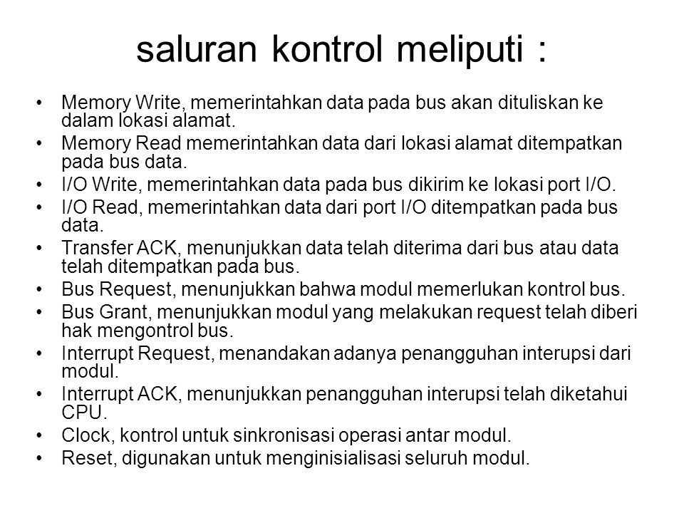 saluran kontrol meliputi :