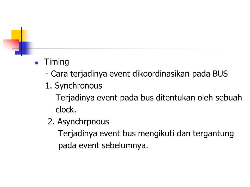 Timing - Cara terjadinya event dikoordinasikan pada BUS. 1. Synchronous. Terjadinya event pada bus ditentukan oleh sebuah.