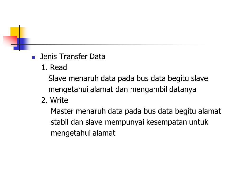 Jenis Transfer Data 1. Read. Slave menaruh data pada bus data begitu slave. mengetahui alamat dan mengambil datanya.