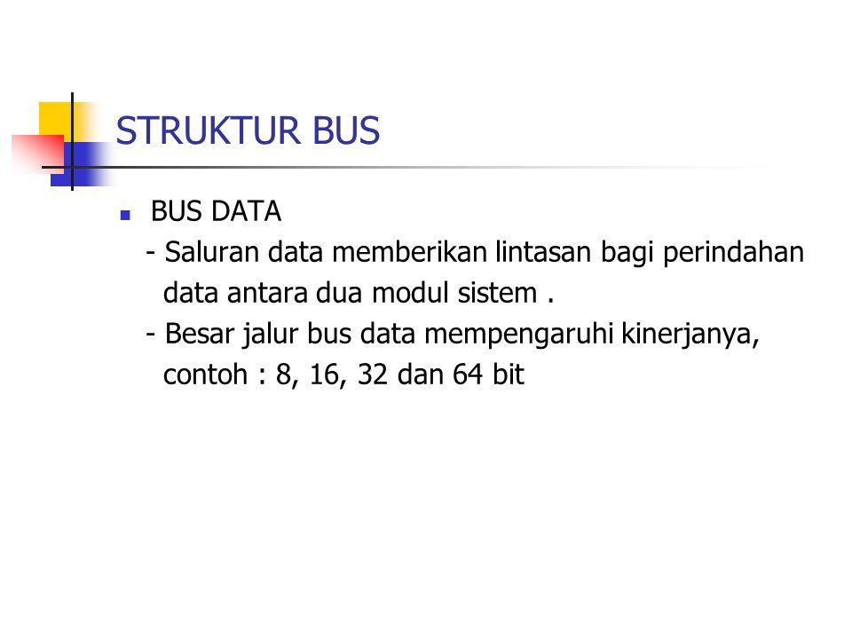 STRUKTUR BUS BUS DATA. - Saluran data memberikan lintasan bagi perindahan. data antara dua modul sistem .