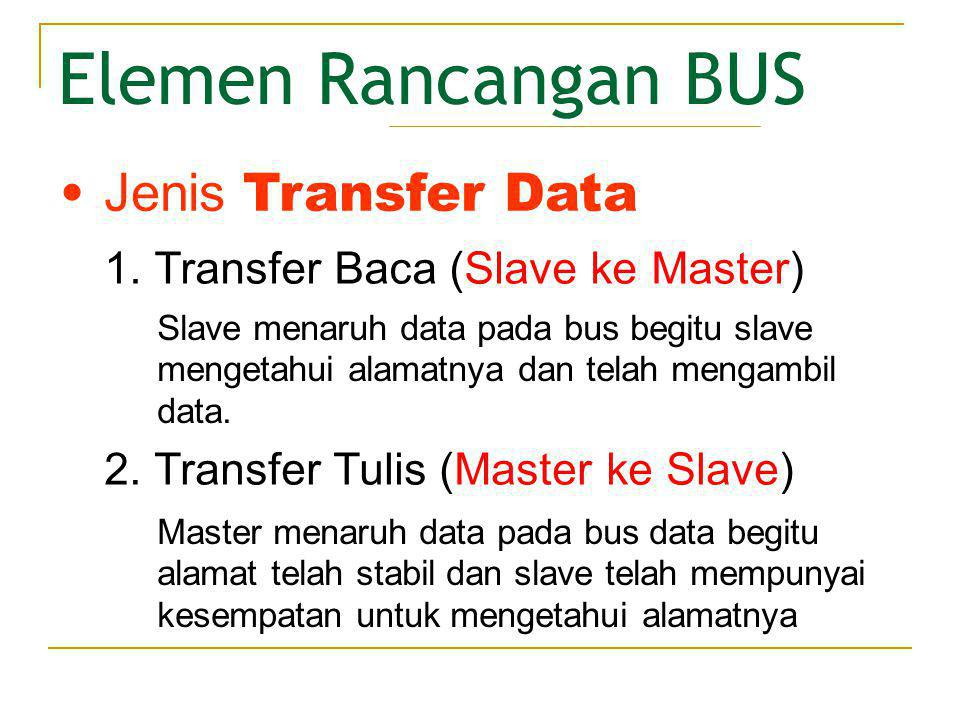 Elemen Rancangan BUS Jenis Transfer Data
