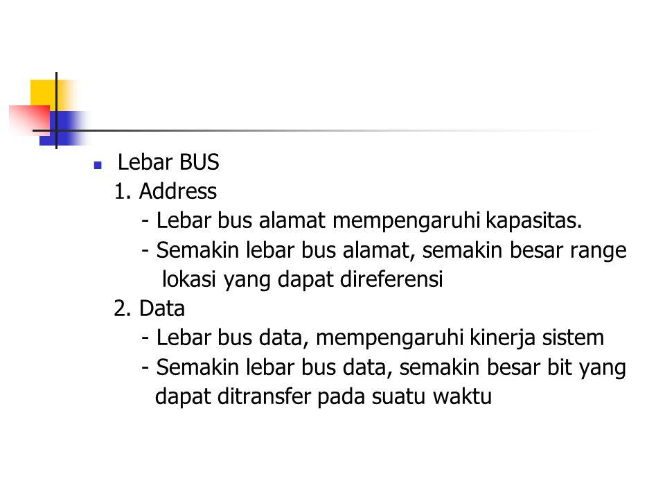 Lebar BUS 1. Address. - Lebar bus alamat mempengaruhi kapasitas. - Semakin lebar bus alamat, semakin besar range.