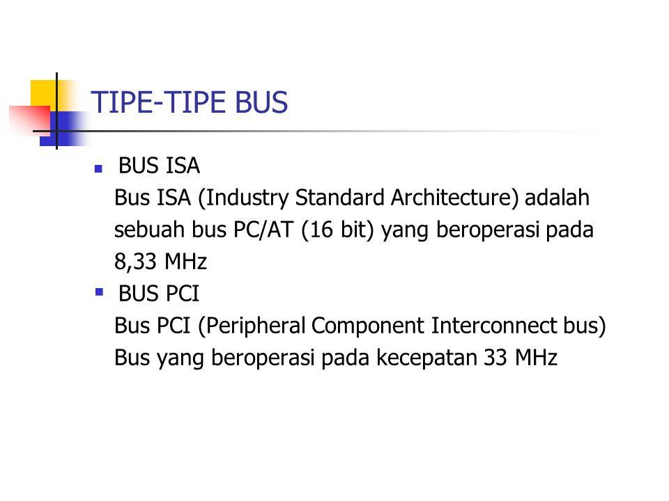 TIPE-TIPE BUS BUS ISA Bus ISA (Industry Standard Architecture) adalah
