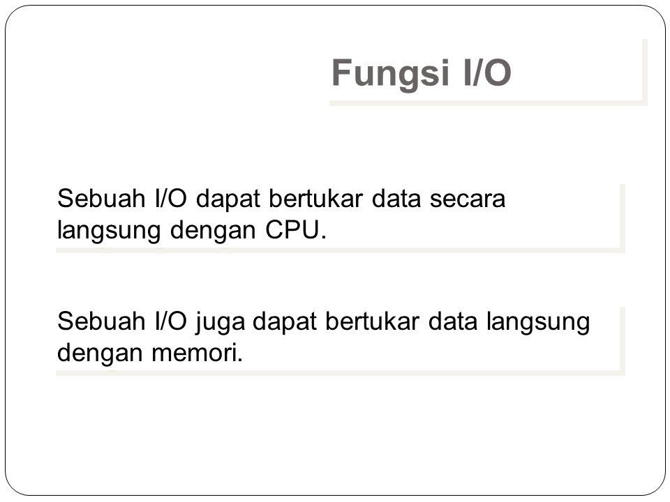 Fungsi I/O Sebuah I/O dapat bertukar data secara langsung dengan CPU.