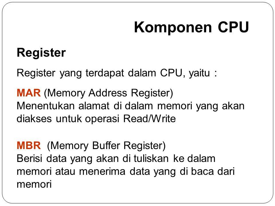 Komponen CPU Register Register yang terdapat dalam CPU, yaitu :