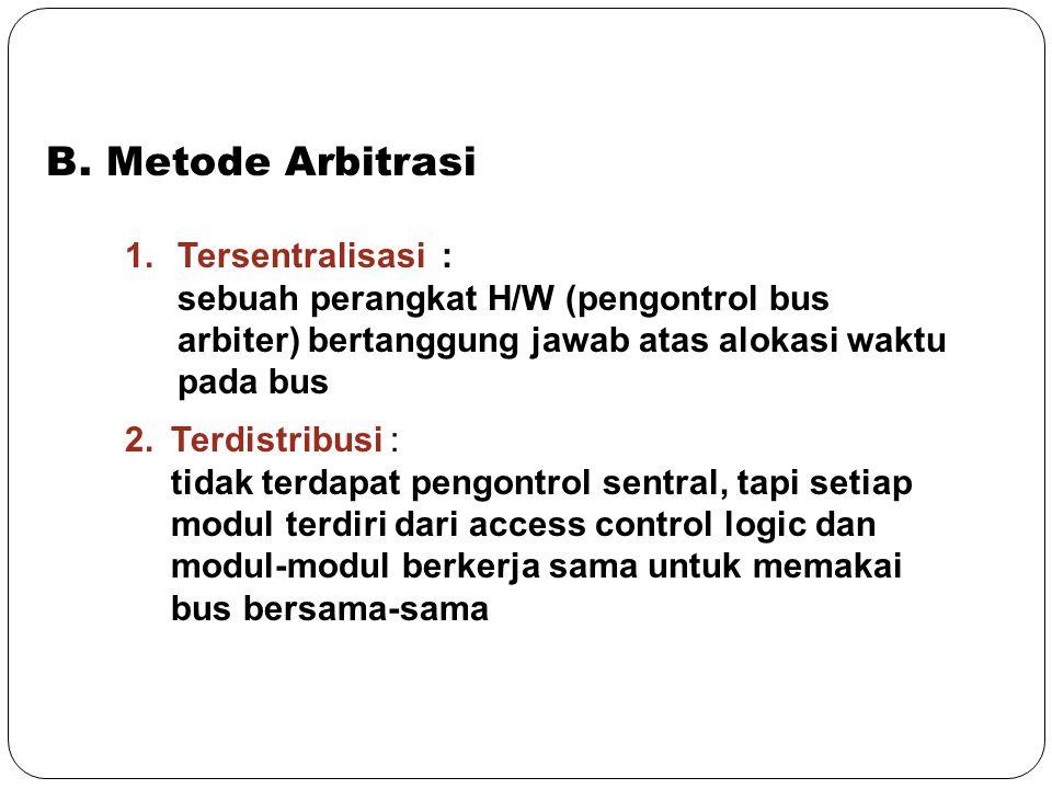 B. Metode Arbitrasi Tersentralisasi :