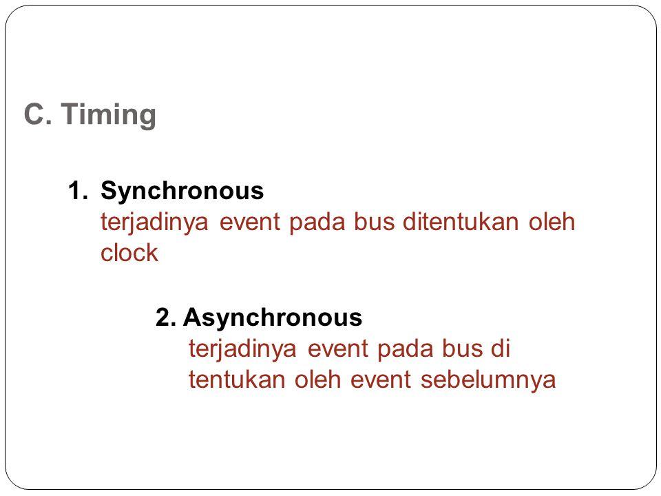 C. Timing Synchronous terjadinya event pada bus ditentukan oleh clock