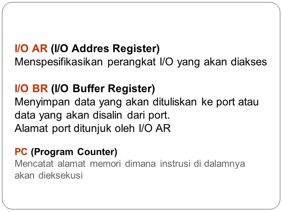 I/O AR (I/O Addres Register)