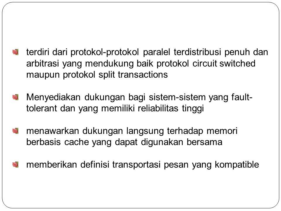 terdiri dari protokol-protokol paralel terdistribusi penuh dan arbitrasi yang mendukung baik protokol circuit switched maupun protokol split transactions