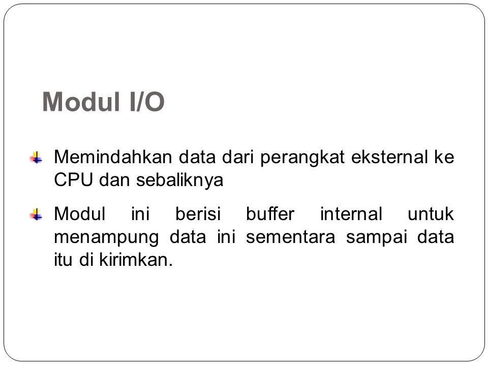 Modul I/O Memindahkan data dari perangkat eksternal ke CPU dan sebaliknya.