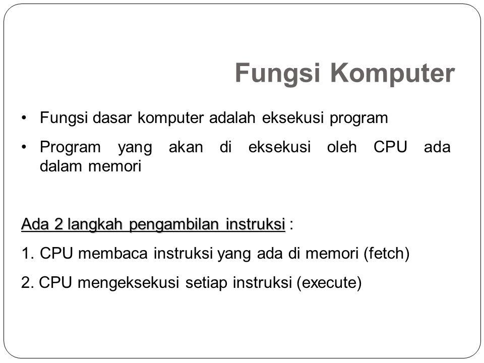 Fungsi Komputer Fungsi dasar komputer adalah eksekusi program