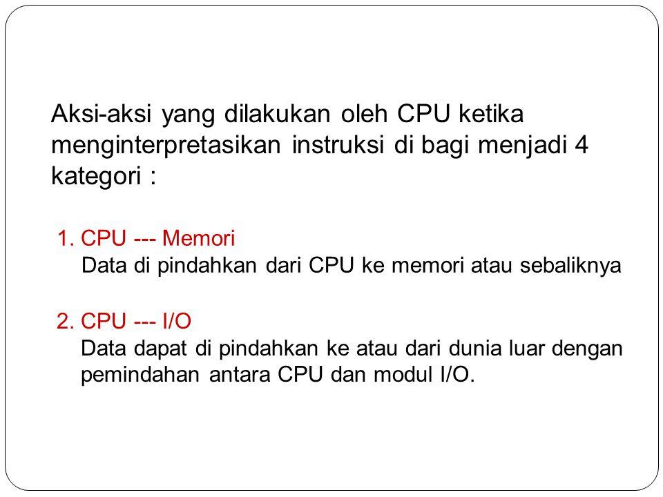 Aksi-aksi yang dilakukan oleh CPU ketika menginterpretasikan instruksi di bagi menjadi 4 kategori :