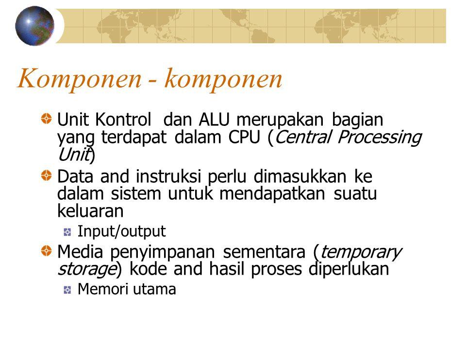 Komponen - komponen Unit Kontrol dan ALU merupakan bagian yang terdapat dalam CPU (Central Processing Unit)