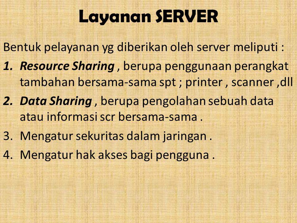 Layanan SERVER Bentuk pelayanan yg diberikan oleh server meliputi :