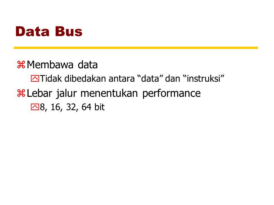 Data Bus Membawa data Lebar jalur menentukan performance