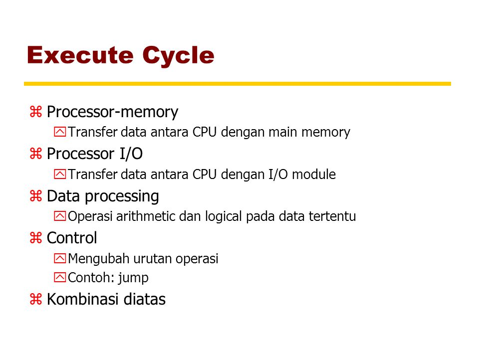 Execute Cycle Processor-memory Processor I/O Data processing Control