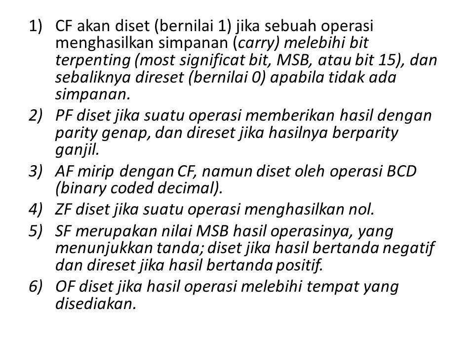 CF akan diset (bernilai 1) jika sebuah operasi menghasilkan simpanan (carry) melebihi bit terpenting (most significat bit, MSB, atau bit 15), dan sebaliknya direset (bernilai 0) apabila tidak ada simpanan.