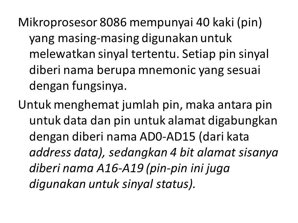 Mikroprosesor 8086 mempunyai 40 kaki (pin) yang masing-masing digunakan untuk melewatkan sinyal tertentu.