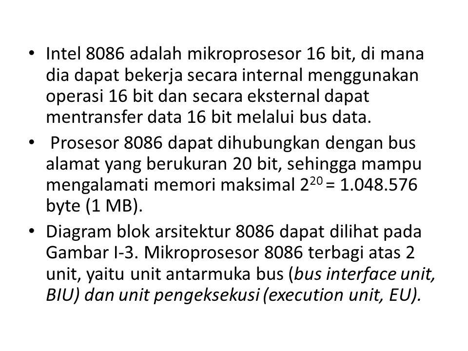 Intel 8086 adalah mikroprosesor 16 bit, di mana dia dapat bekerja secara internal menggunakan operasi 16 bit dan secara eksternal dapat mentransfer data 16 bit melalui bus data.