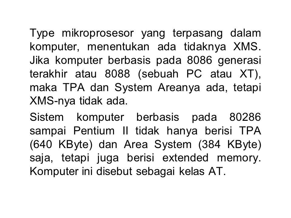 Type mikroprosesor yang terpasang dalam komputer, menentukan ada tidaknya XMS. Jika komputer berbasis pada 8086 generasi terakhir atau 8088 (sebuah PC atau XT), maka TPA dan System Areanya ada, tetapi XMS-nya tidak ada.