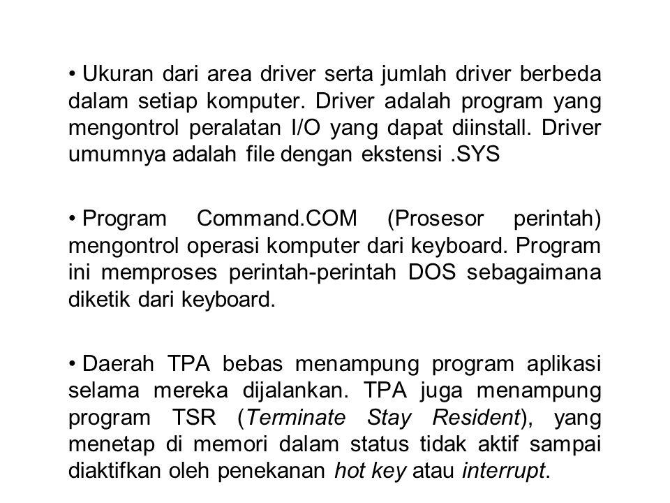 Ukuran dari area driver serta jumlah driver berbeda dalam setiap komputer. Driver adalah program yang mengontrol peralatan I/O yang dapat diinstall. Driver umumnya adalah file dengan ekstensi .SYS