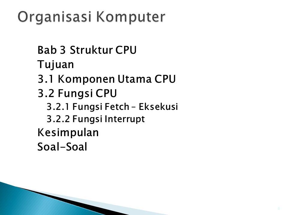 Organisasi Komputer Bab 3 Struktur CPU Tujuan 3.1 Komponen Utama CPU