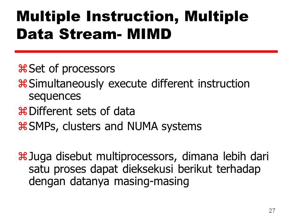 Multiple Instruction, Multiple Data Stream- MIMD