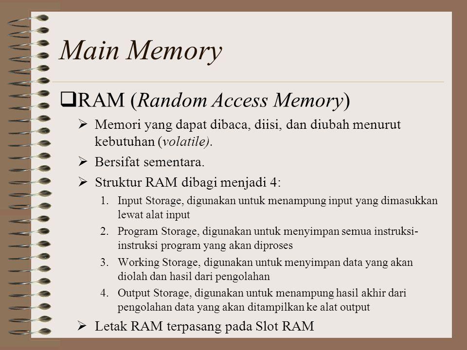 Main Memory RAM (Random Access Memory)