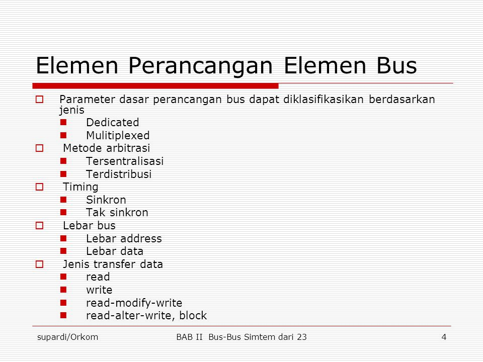 Elemen Perancangan Elemen Bus