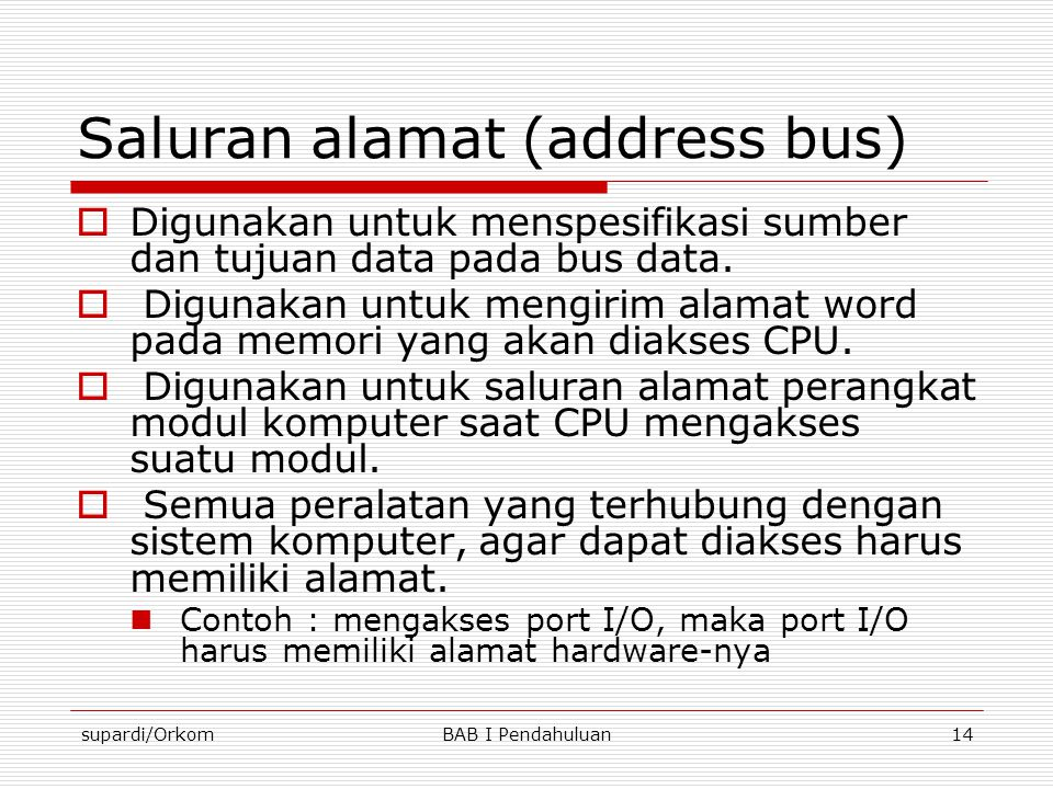 Saluran alamat (address bus)