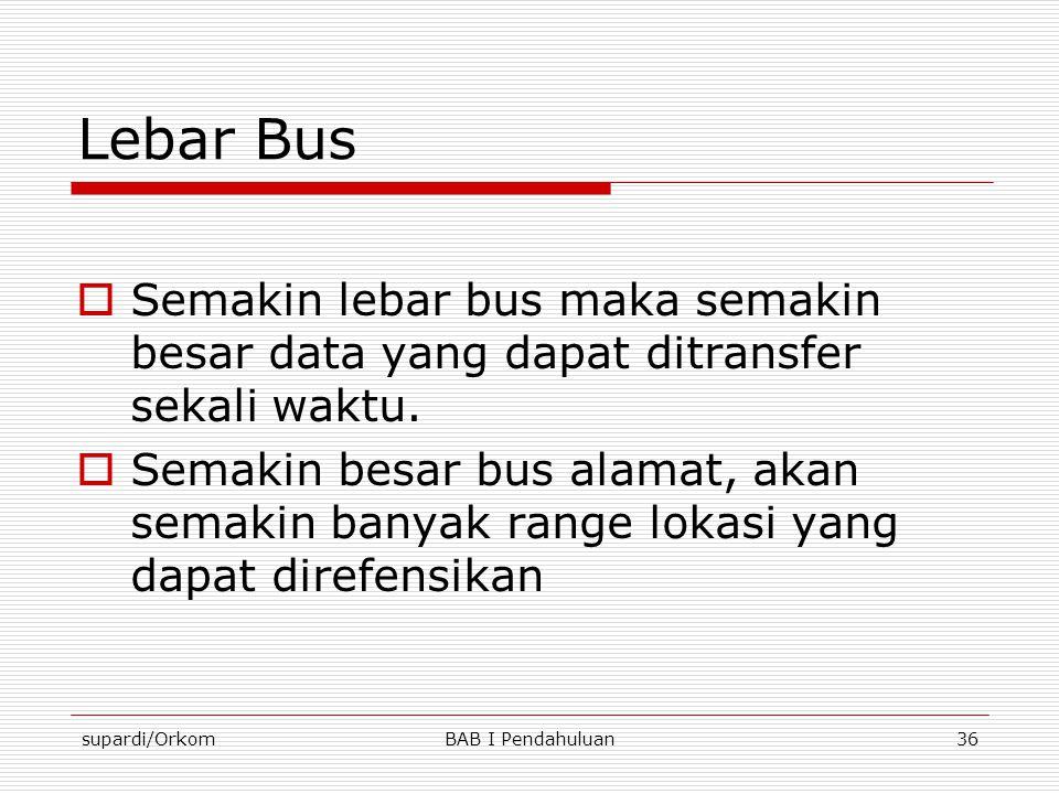 Lebar Bus Semakin lebar bus maka semakin besar data yang dapat ditransfer sekali waktu.