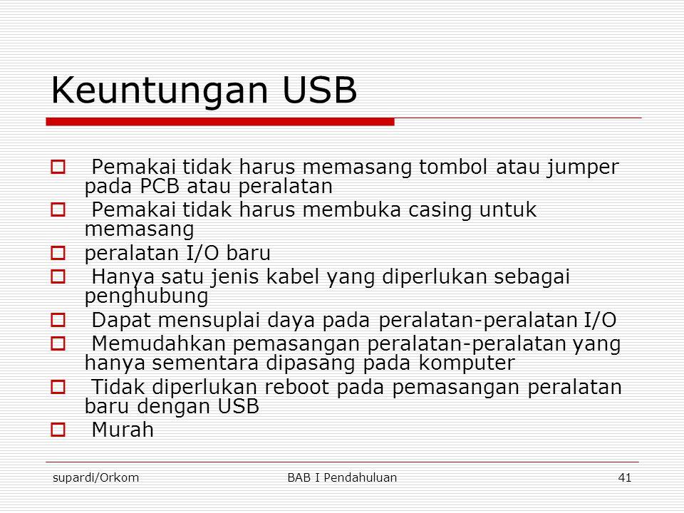 Keuntungan USB Pemakai tidak harus memasang tombol atau jumper pada PCB atau peralatan. Pemakai tidak harus membuka casing untuk memasang.