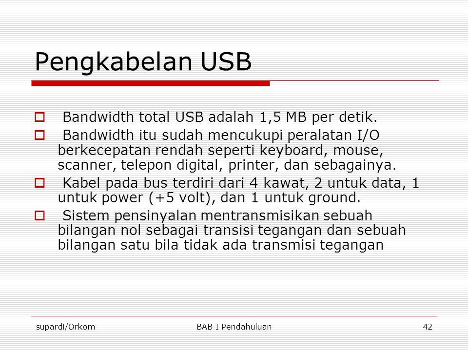 Pengkabelan USB Bandwidth total USB adalah 1,5 MB per detik.