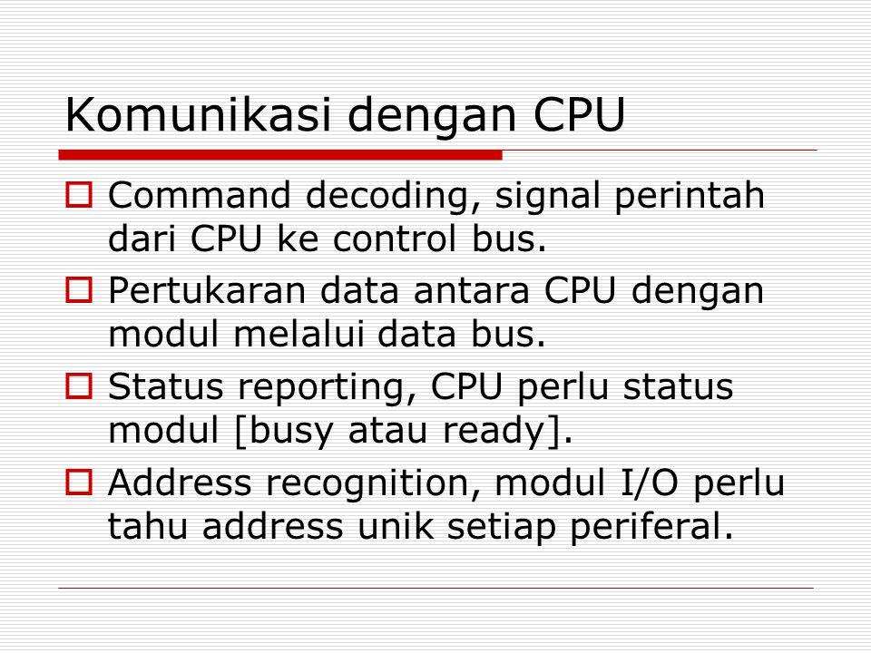 Komunikasi dengan CPU Command decoding, signal perintah dari CPU ke control bus. Pertukaran data antara CPU dengan modul melalui data bus.