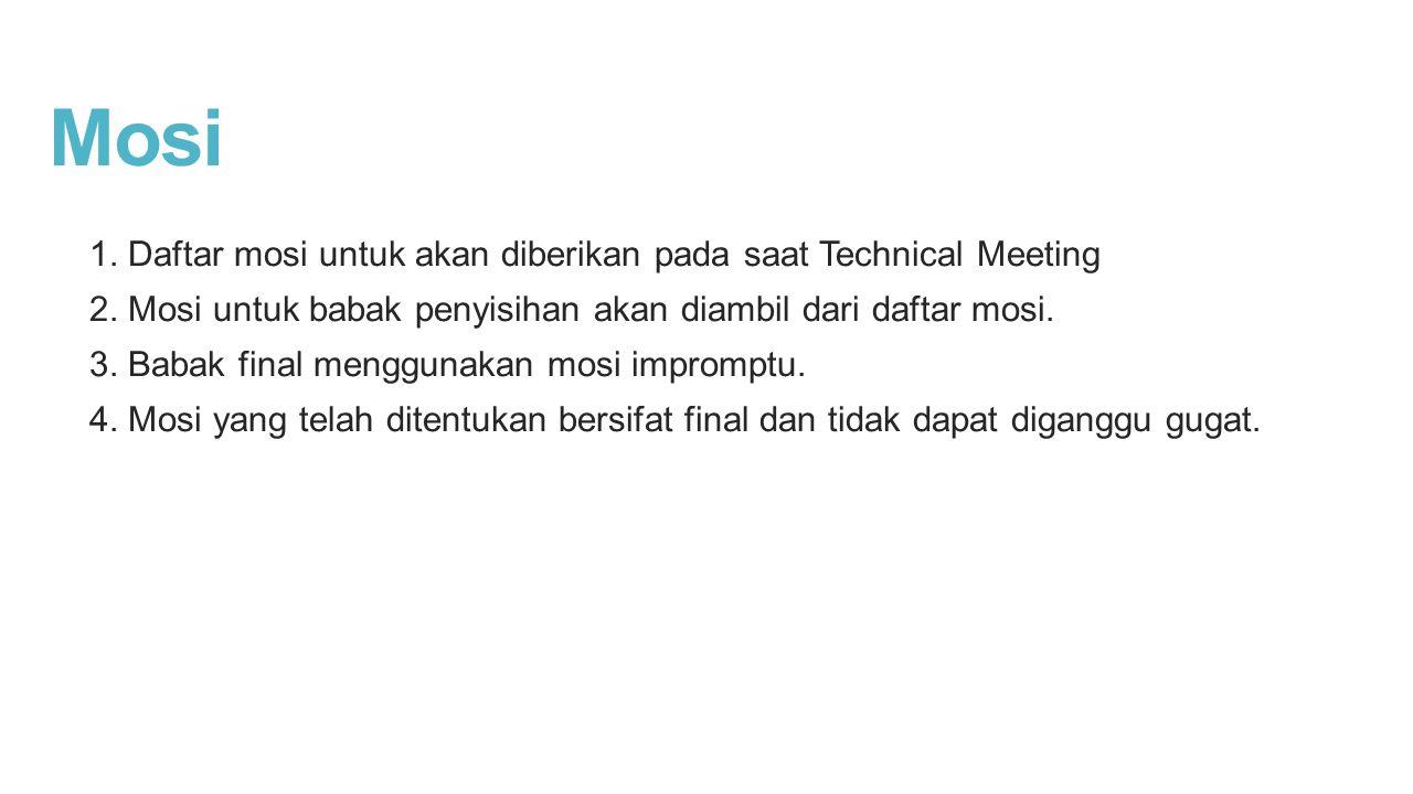 Mosi 1. Daftar mosi untuk akan diberikan pada saat Technical Meeting