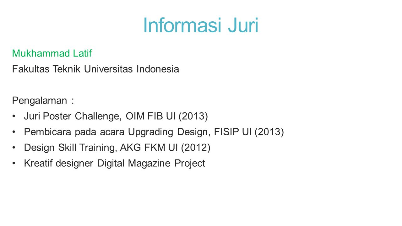 Informasi Juri Mukhammad Latif Fakultas Teknik Universitas Indonesia