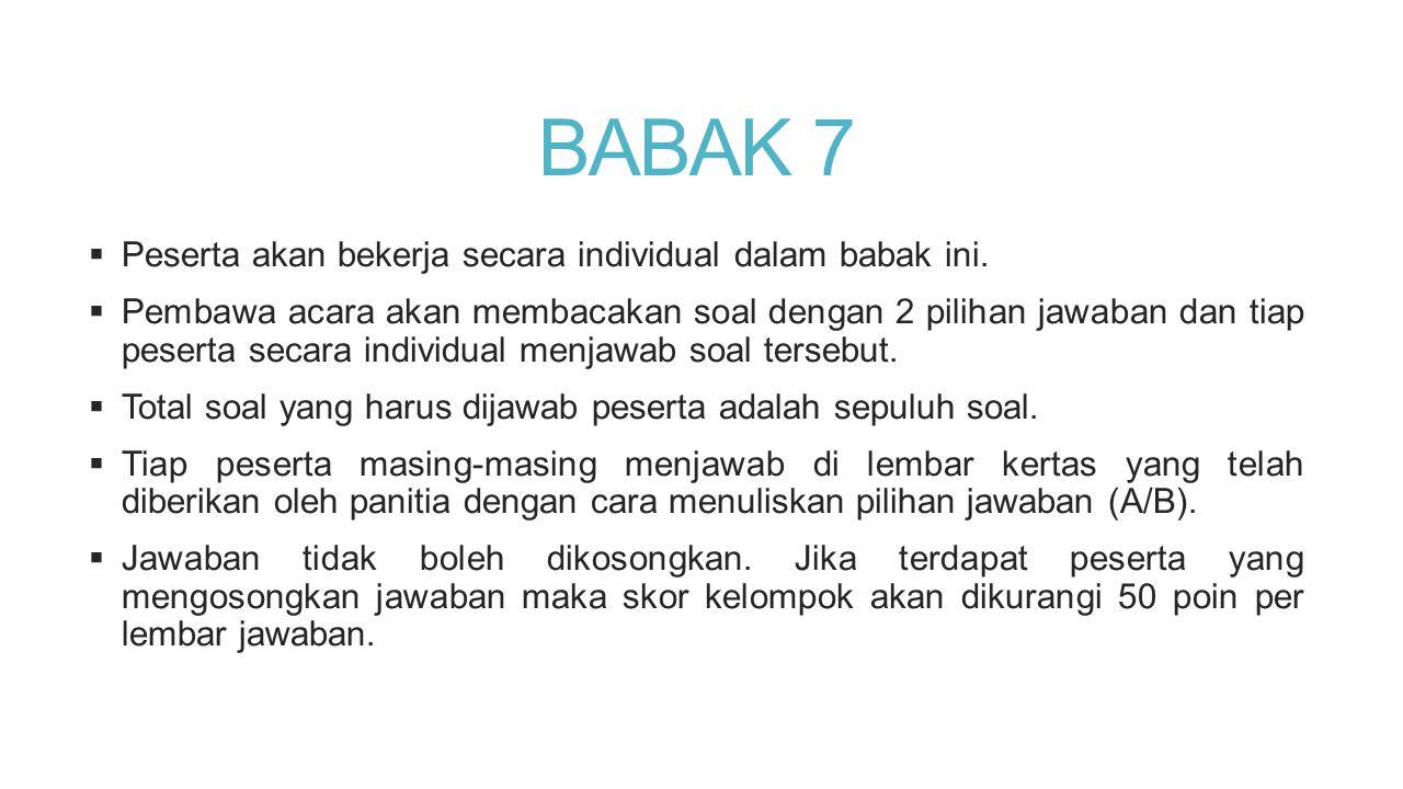 BABAK 7 Peserta akan bekerja secara individual dalam babak ini.