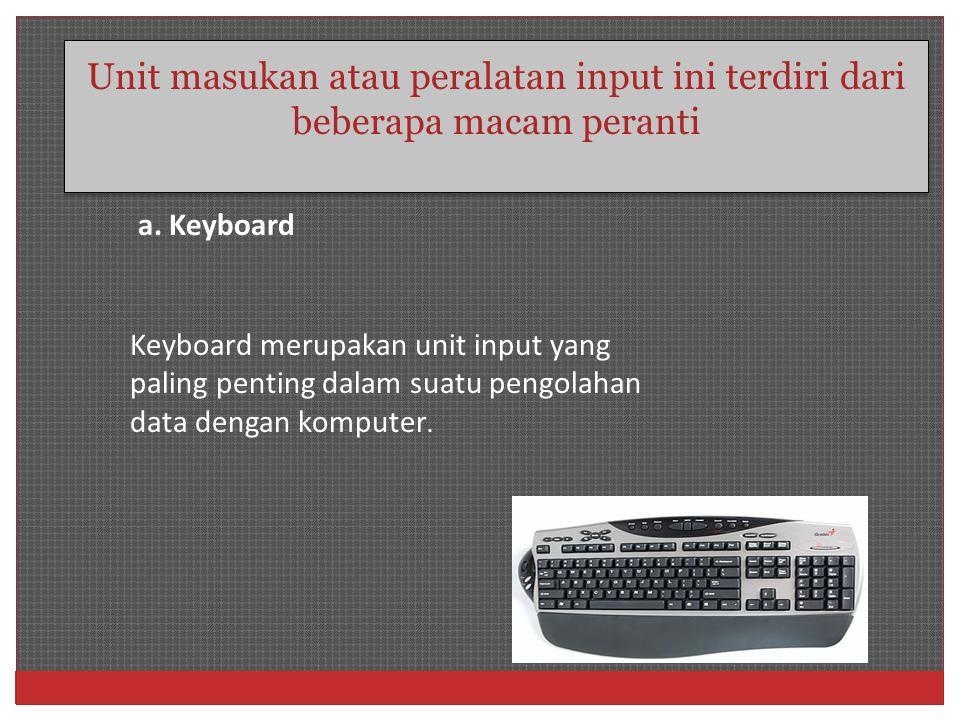 Unit masukan atau peralatan input ini terdiri dari beberapa macam peranti