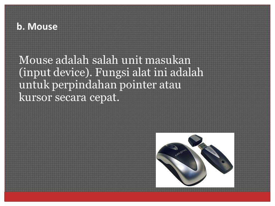 b. Mouse Mouse adalah salah unit masukan (input device).