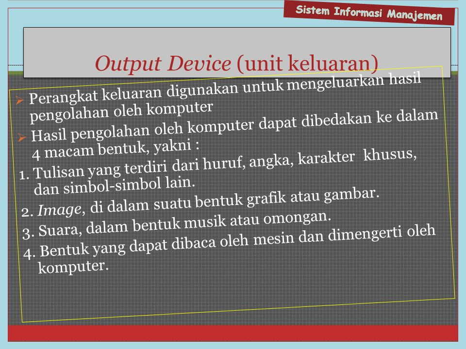 Output Device (unit keluaran)