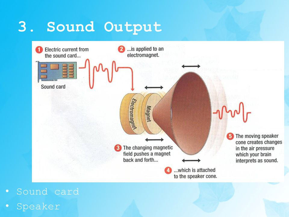 3. Sound Output Sound card Speaker