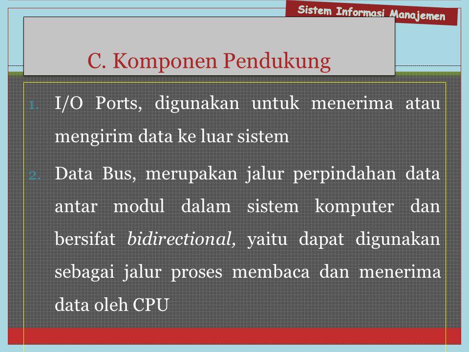 C. Komponen Pendukung I/O Ports, digunakan untuk menerima atau mengirim data ke luar sistem.