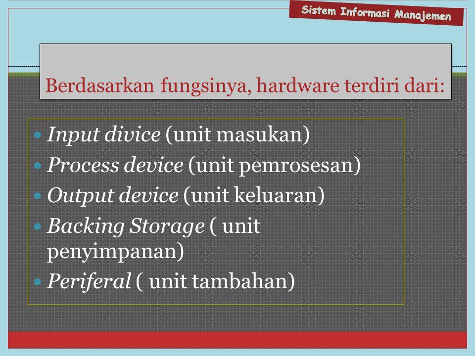 Berdasarkan fungsinya, hardware terdiri dari: