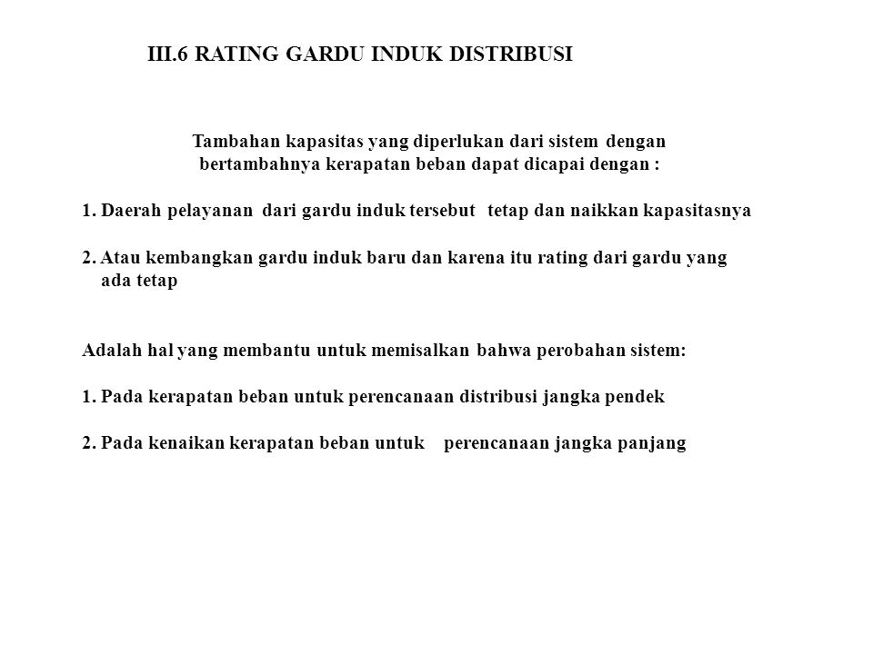 III.6 RATING GARDU INDUK DISTRIBUSI