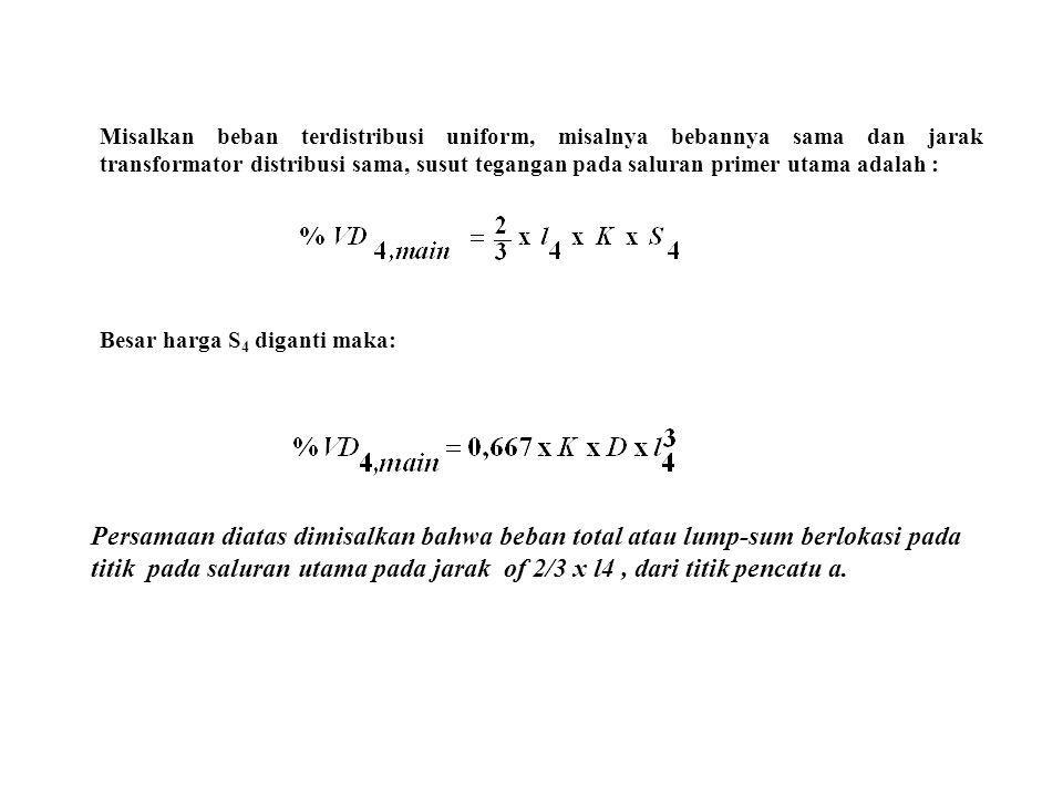 Misalkan beban terdistribusi uniform, misalnya bebannya sama dan jarak transformator distribusi sama, susut tegangan pada saluran primer utama adalah :