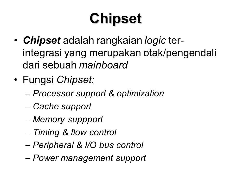 Chipset Chipset adalah rangkaian logic ter-integrasi yang merupakan otak/pengendali dari sebuah mainboard.