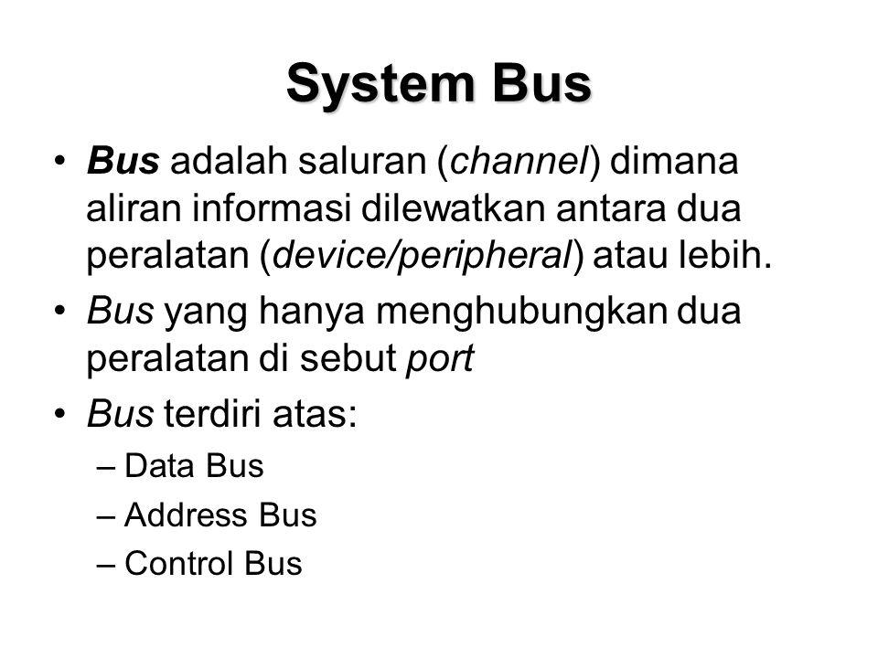 System Bus Bus adalah saluran (channel) dimana aliran informasi dilewatkan antara dua peralatan (device/peripheral) atau lebih.