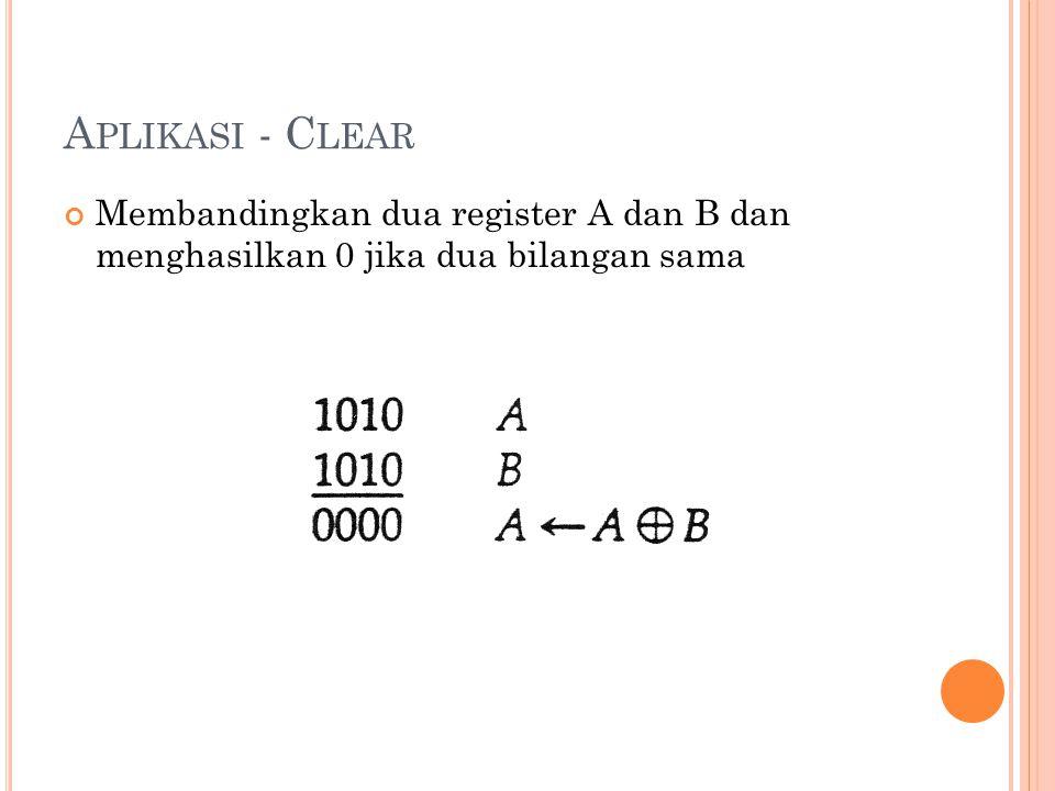 Aplikasi - Clear Membandingkan dua register A dan B dan menghasilkan 0 jika dua bilangan sama